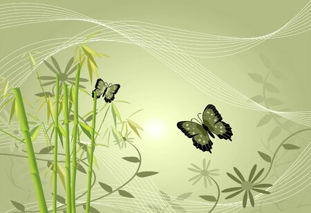 butterfly background: Floral image of bamboo, flowers, butterflies and leaves.