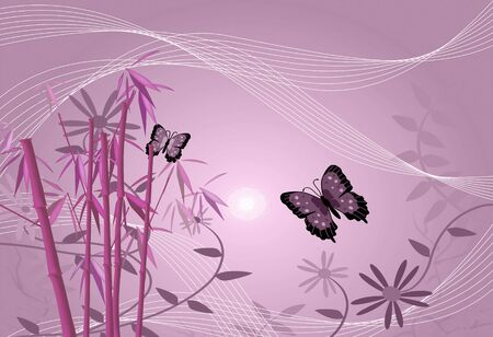 Floral image of bamboo, flowers, butterflies and leaves.