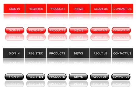 about us: Red Web Buttons Stock Photo