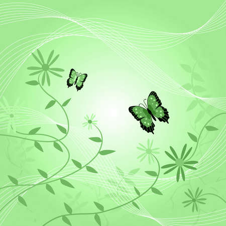 green swirl: Image of a floral background with butterflies and leaves. Stock Photo
