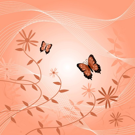 Image of a floral background with butterflies and leaves. Imagens