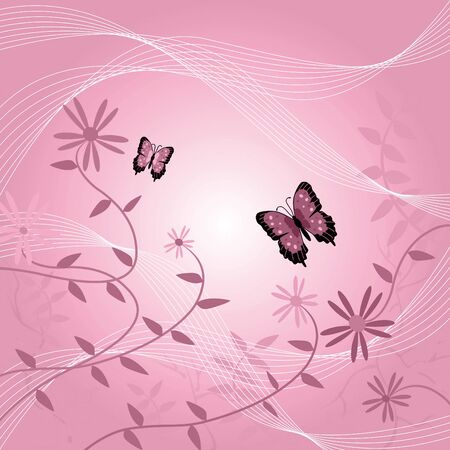 Image of a floral background with butterflies and leaves. photo