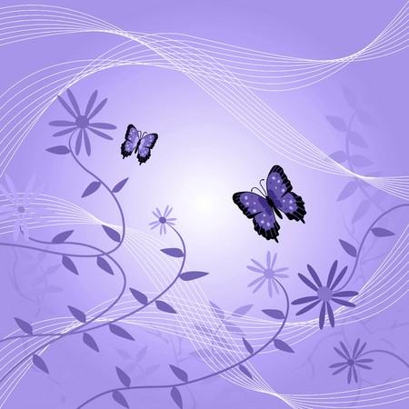 蝶と葉を持つ花の背景の画像。