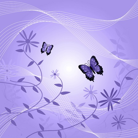 purple butterfly: Image of a floral background with butterflies and leaves. Stock Photo