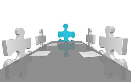 Concept image of puzzle pieces having a company meeting. photo
