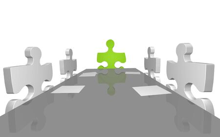 Concept image of puzzle pieces having a company meeting. Stock Photo - 7141539