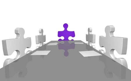 Concept image of puzzle pieces having a company meeting. Stock Photo - 7141540