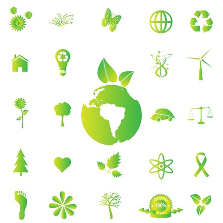 Various eco-friendly green icons.