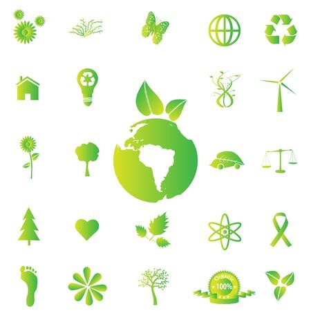 Verschillende groene iconen van de eco-vriendelijk. Stockfoto