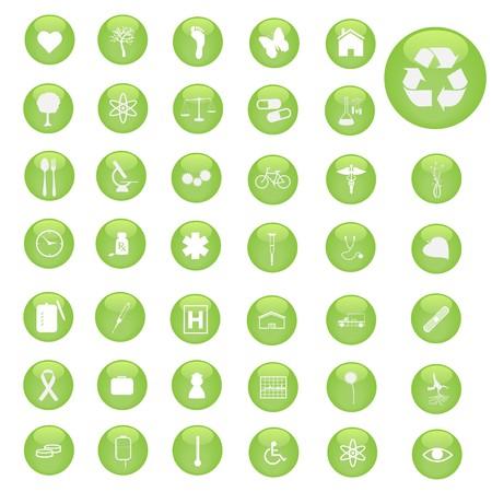 Various green, miscellaneous button icons. photo