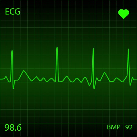 heart disease: Green Heart Monitor Stock Photo