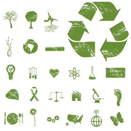 green environment: Grunge Eco Icons Stock Photo