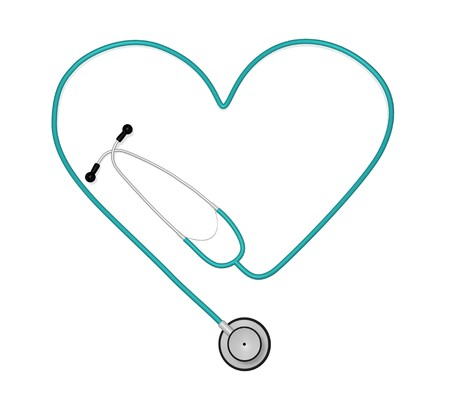 Image of a stethoscope in the shape of a heart isolated on a white background.