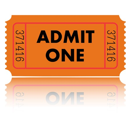 Orange Admit One Ticket Stok Fotoğraf - 7141547