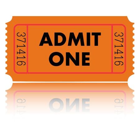 Orange Admit One Ticket