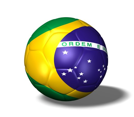 Image of a soccer ball with the flag from Brazil. photo