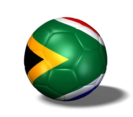 Image of a soccer ball with the flag from South Africa.