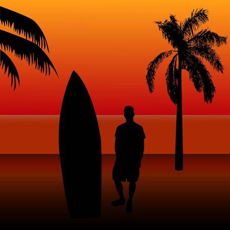 Surfing Sunset Stock Photo - 7141600