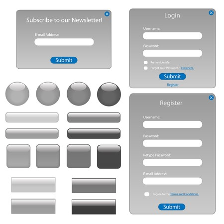 web icons: Various grey and black web forms and buttons. Stock Photo