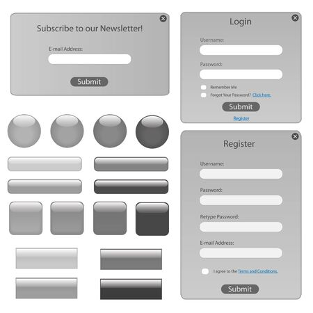 Silver web template with forms, bars and buttons. photo
