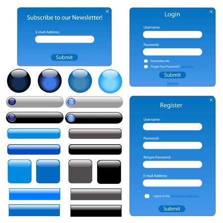 Set of blue web forms and buttons. photo