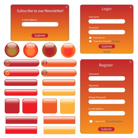 web site design: Red and orange web template with buttons and forms. Stock Photo
