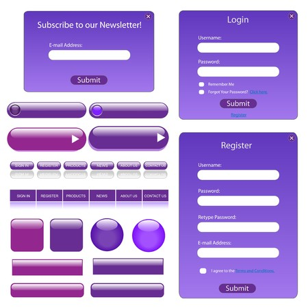 username: Purple web template with forms, bars and buttons.