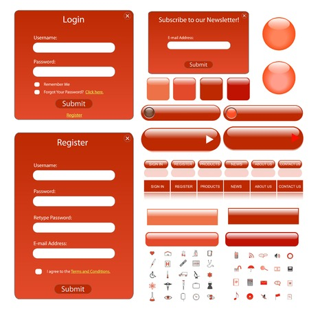 Red web template with forms, bars, buttons and many icons. Vector
