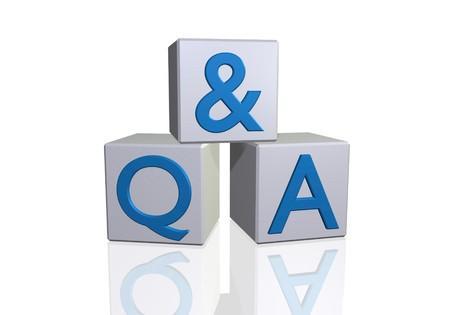 control de calidad: Imagen de Q & A, en 3d de bloques aislado en un fondo blanco.