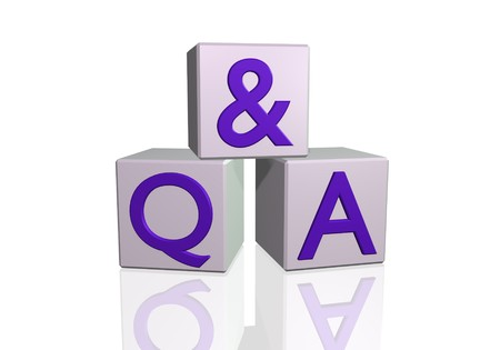qa: Image of Q & A on 3d blocks isolated on a white background. Stock Photo