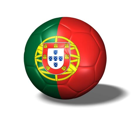Image of a soccer ball with the flag from Portugal.