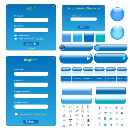 Colorful blue web template with forms, bars, buttons and many icons. photo