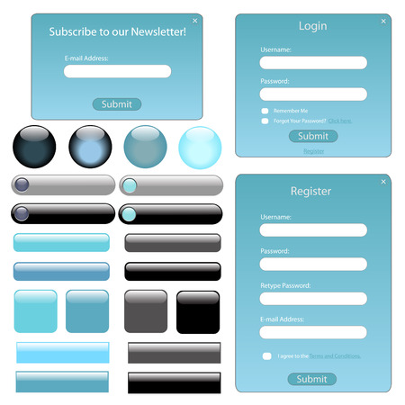 Light blue web template with forms, bars and buttons. Vector