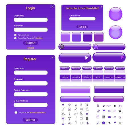 Purple web template with forms, buttons, bars and many icons. Illustration