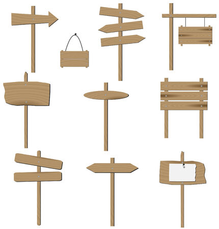 plywood: set of various wooden signs. Illustration