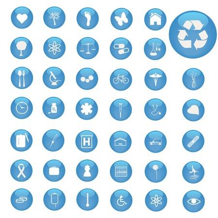 Afbeelding van diverse pictogrammen op blauwe knoppen.  Stock Illustratie