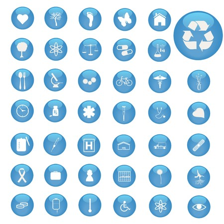 Image of various icons on blue buttons. Vector