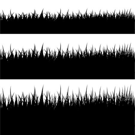 grass land: Silueta de c�sped  Vectores