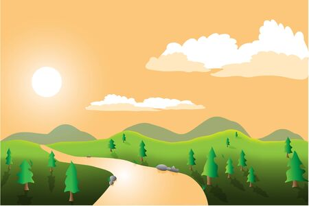 Image of a landscape with trees, river, sky, sun and mountains. Vector