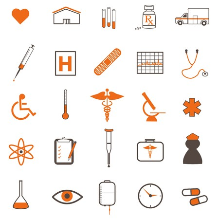 Various medical icons isolated on a white background. Stock Vector - 7253172