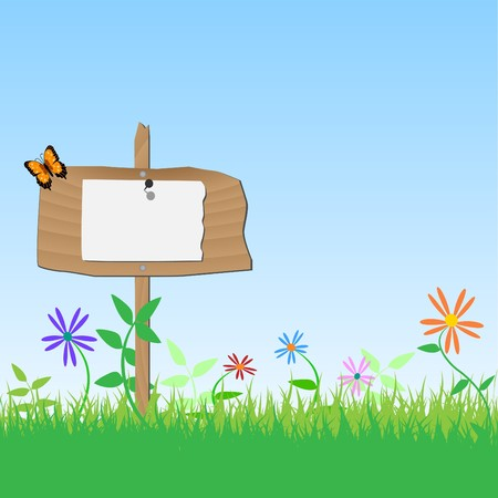 Image of a blank wooden sign with flowers, grass and sky. Vector