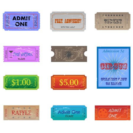 ticket stubs: Image of various vintage and worn tickets. Illustration