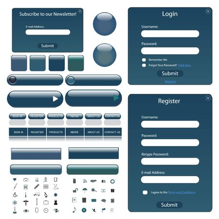 blue button: Web template with forms, bars, buttons and many icons. Illustration