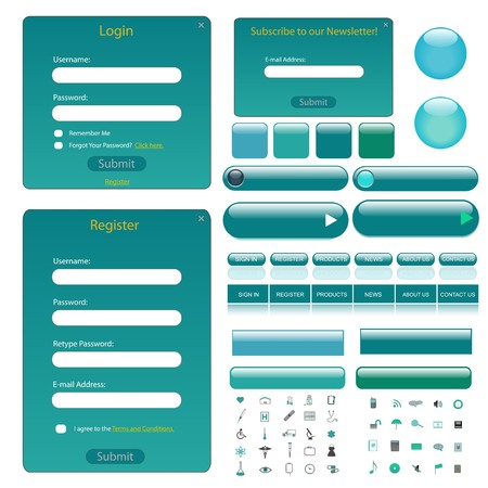 teal: Web template with forms, bars, buttons and many icons. Illustration