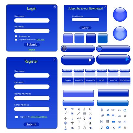 Blue web template with forms, bars, buttons and many icons. Vector