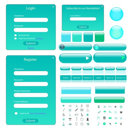 Colorful web template with forms, bars, buttons and many icons. Иллюстрация