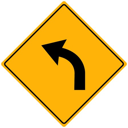 curve road: Image of a yellow sign with a curved arrow.