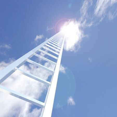 Image of a ladder reaching up to the sky.