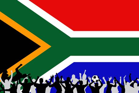 Image of a team soccerfootball celebration with the flag from South Africa. Stock Photo