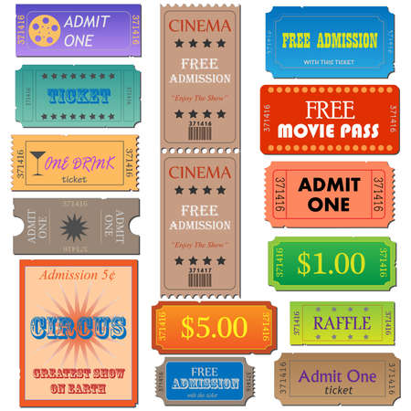 Image of various admission and cinema tickets. Stok Fotoğraf
